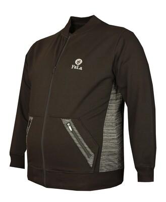 - Büyük Beden Baharlık Fermuarlı Sweatshirt 80018 Siyah
