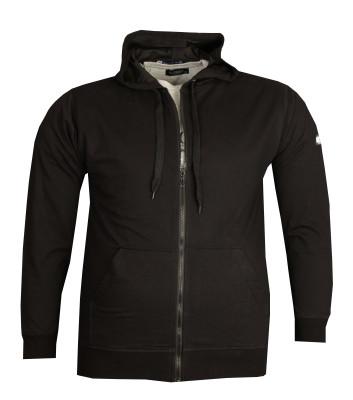 Büyük Beden Baharlık Kapşonlu Sweatshirt 80015 Siyah - Thumbnail