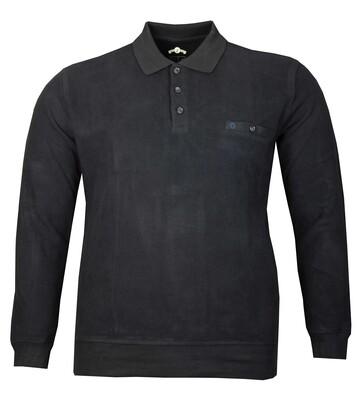 - Büyük Beden Polo Yaka Kalın Sweatshirt 98416 /Lacivert
