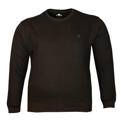 - Büyük Beden Bisiklet Yaka Kalın Sweatshirt 79013 / Siyah