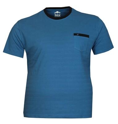 - Büyük Beden Bisiklet Yaka T-shırt 75037 Saks Mavi