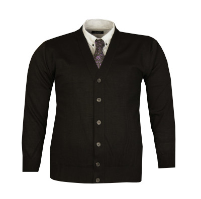 - Büyük Beden Düğmeli İnce Triko Hırka 92020 Siyah