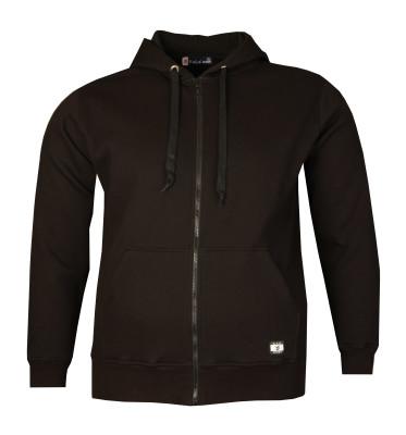 - Büyük Beden Fermuarlı Kapşonlu Sweatshirt Siyah 80014