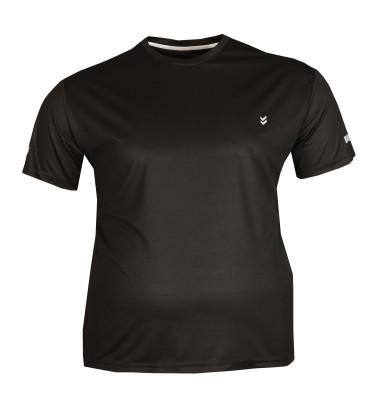 - Büyük Beden File Görünümlü Sporcu Tshirt Siyah 75017