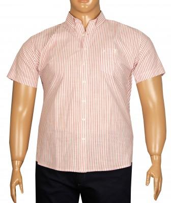 - Büyük Beden Kısa Kol Çizgili Gömlek 51051 Kırmızı