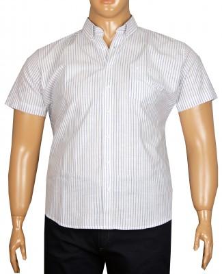 - Büyük Beden Kısa Kol Çizgili Gömlek 51051 Mavi