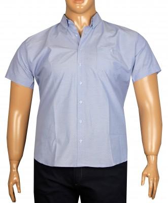 - Büyük Beden Kısa Kol Puanlı Gömlek 51052 Mavi