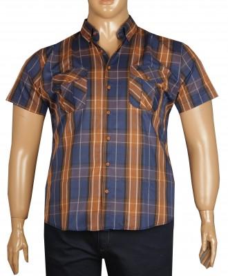 - Büyük Beden Kısa Kol Kareli Gömlek 51058 Kahverengi