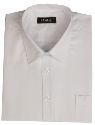 - Büyük Beden Kısa Kol Düz Gömlek 51072 Beyaz