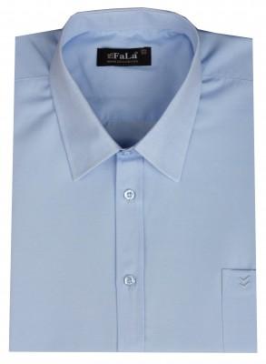 - Büyük Beden Kısa Kol Düz Gömlek 51072 Mavi
