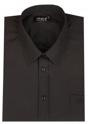 - Büyük Beden Kısa Kol Düz Gömlek 51072 Siyah