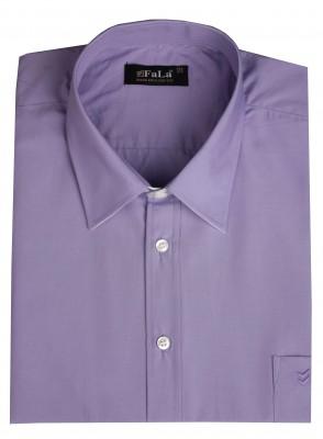 - Büyük Beden Kısa Kol Düz Gömlek 51044 Lila