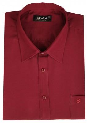 - Büyük Beden Kısa Kol Düz Gömlek 51044 Bordo