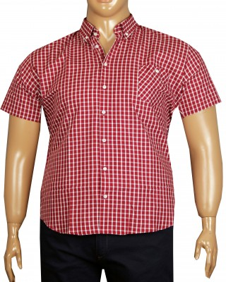 - Büyük Beden Kısa Kol Ekose Gömlek 51049 Kırmızı