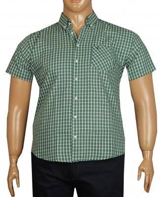 - Büyük Beden Kısa Kol Ekose Gömlek 51049 Yeşil