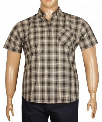 - Büyük Beden Kısa Kol Ekose Gömlek 51050 Haki