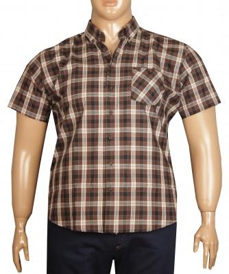 - Büyük Beden Kısa Kol Ekose Gömlek 51050 Kahve