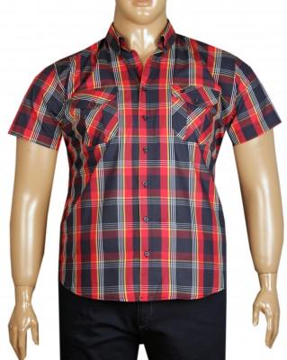 - Büyük Beden Kısa Kol Kareli Gömlek 51056 Lacivert