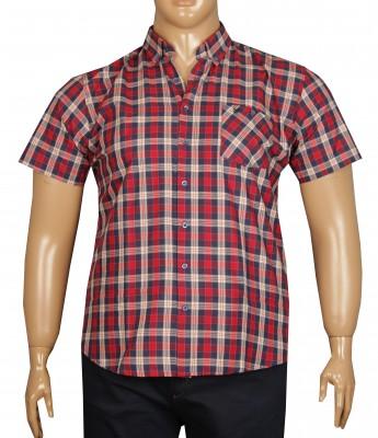 - Büyük Beden Kısa Kol Ekose Gömlek 51050 Kırmızı