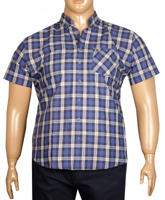 - Büyük Beden Kısa Kol Ekose Gömlek 51050 Lacivert