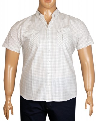 - Büyük Beden Kısa Kol Kareli Gömlek 51054 Gri