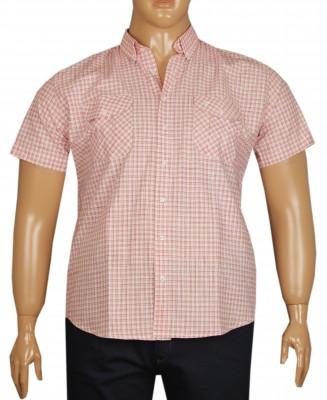 - Büyük Beden Kısa Kol Kareli Gömlek 51054 Kırmızı