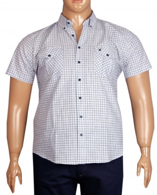 - Büyük Beden Kısa Kol Kareli Gömlek 51054 Lacivert
