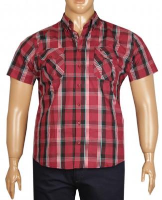 - Büyük Beden Kısa Kol Kareli Gömlek 51056 Bordo