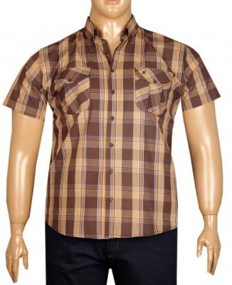 - Büyük Beden Kısa Kol Kareli Gömlek 51056 Kahverengi