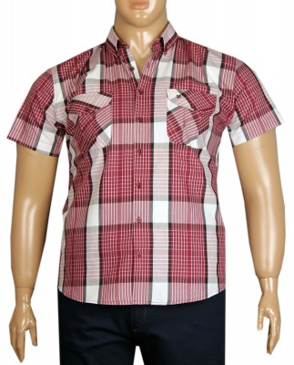 - Büyük Beden Kısa Kol Kareli Gömlek 51057 Bordo