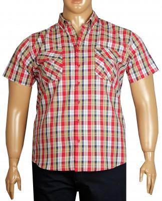 - Büyük Beden Kısa Kol Kareli Gömlek 51059 Kırmızı