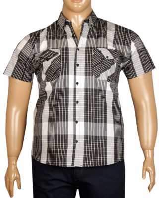 - Büyük Beden Kısa Kol Kareli Gömlek 51057 Siyah