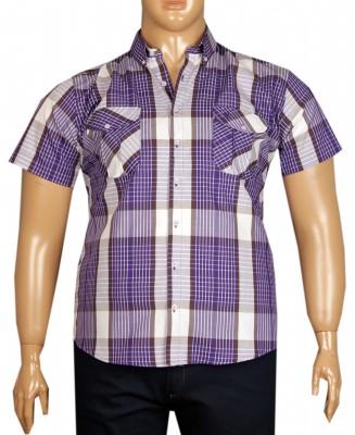 - Büyük Beden Kısa Kol Kareli Gömlek 51057 Mor