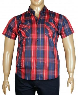 - Büyük Beden Kısa Kol Kareli Gömlek 51058 Kırmızı