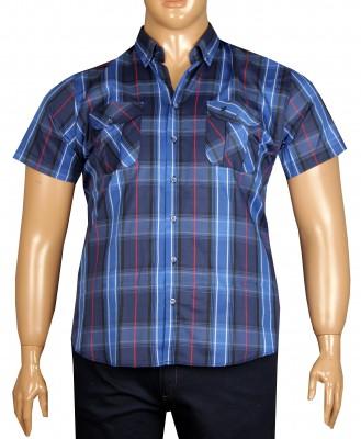 - Büyük Beden Kısa Kol Kareli Gömlek 51058 İndigo