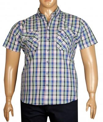 - Büyük Beden Kısa Kol Kareli Gömlek 51059 Lacivert