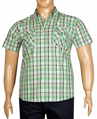 - Büyük Beden Kısa Kol Kareli Gömlek 51059 Yeşil