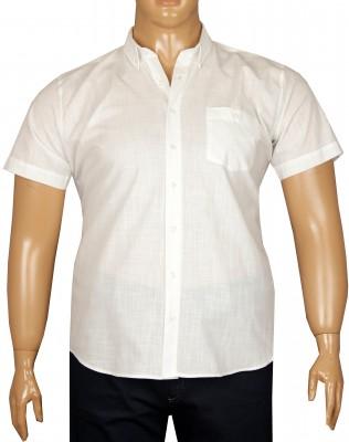 - Büyük Beden Kısa Kol Keten Gömlek 51071 Beyaz
