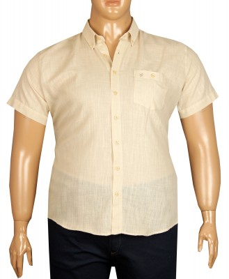 - Büyük Beden Kısa Kol Keten Gömlek 51064 Bej