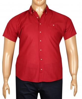 - Büyük Beden Kısa Kol Keten Gömlek 51064 Kırmızı