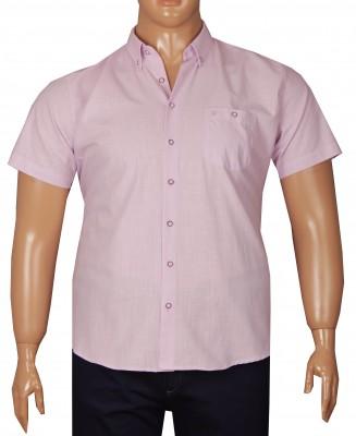 - Büyük Beden Kısa Kol Keten Gömlek 51064 Lila