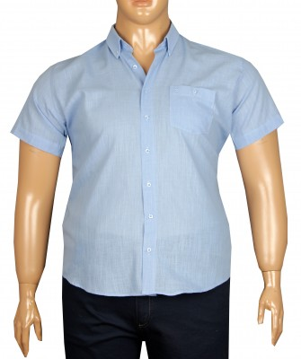 - Büyük Beden Kısa Kol Keten Gömlek 51071 Mavi
