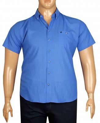 - Büyük Beden Kısa Kol Keten Gömlek 51064 Saks Mavi