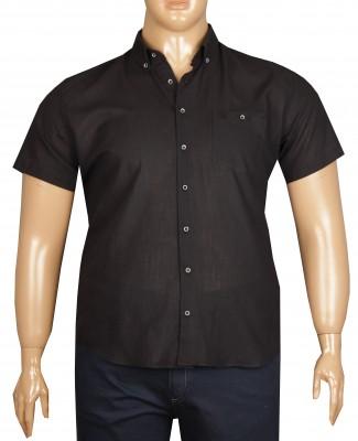 - Büyük Beden Kısa Kol Keten Gömlek 51064 Siyah