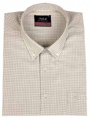 - Büyük Beden Kısa Kol Küçük Kareli Gömlek 51062 Gri-Beyaz