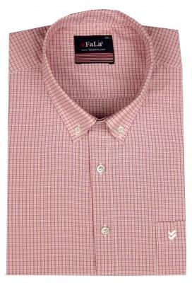 - Büyük Beden Kısa Kol Küçük Kareli Gömlek 51062 Kırmızı