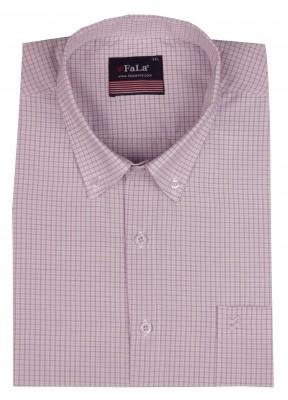 - Büyük Beden Kısa Kol Küçük Kareli Gömlek 51062 Lila