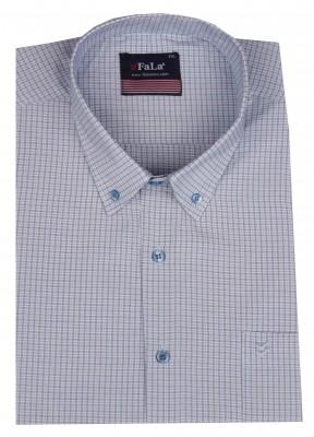 - Büyük Beden Kısa Kol Küçük Kareli Gömlek 51062 Mavi