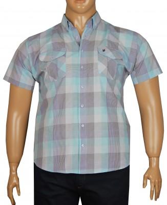 - Büyük Beden Kısa Kol Pitikare Gömlek 51053 Mavi