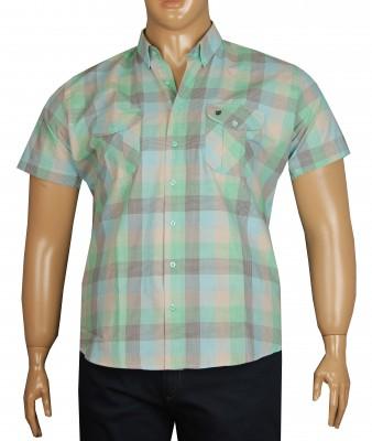 - Büyük Beden Kısa Kol Pitikare Gömlek 51053 Yeşil